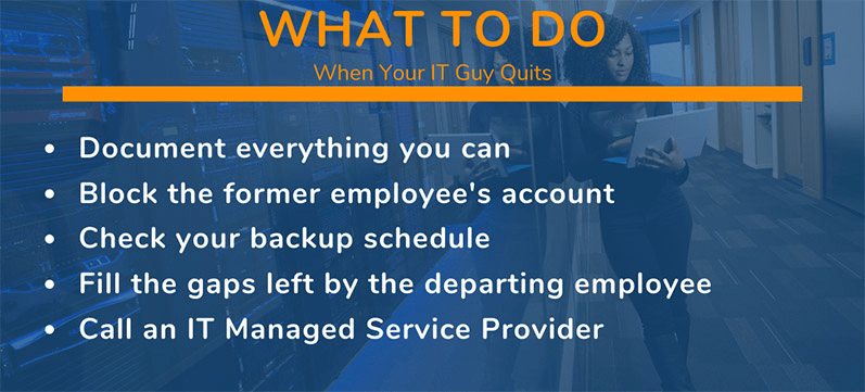 what to do if your IT guy quits infographic