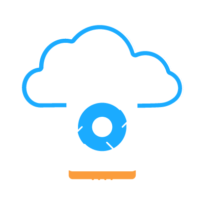 A hardisk spinning in front of a cloud representing Data Back-up and Recovery