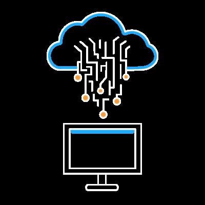 A cloud above a computer representing Desktop Virtualization