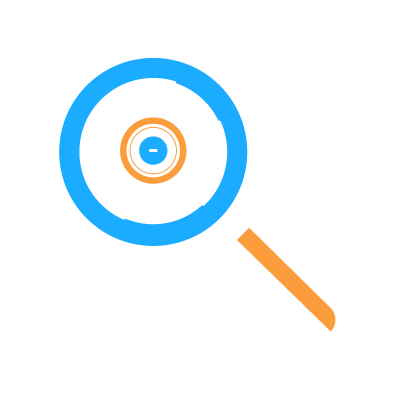 A magnifying glass representing Mobile Device Management