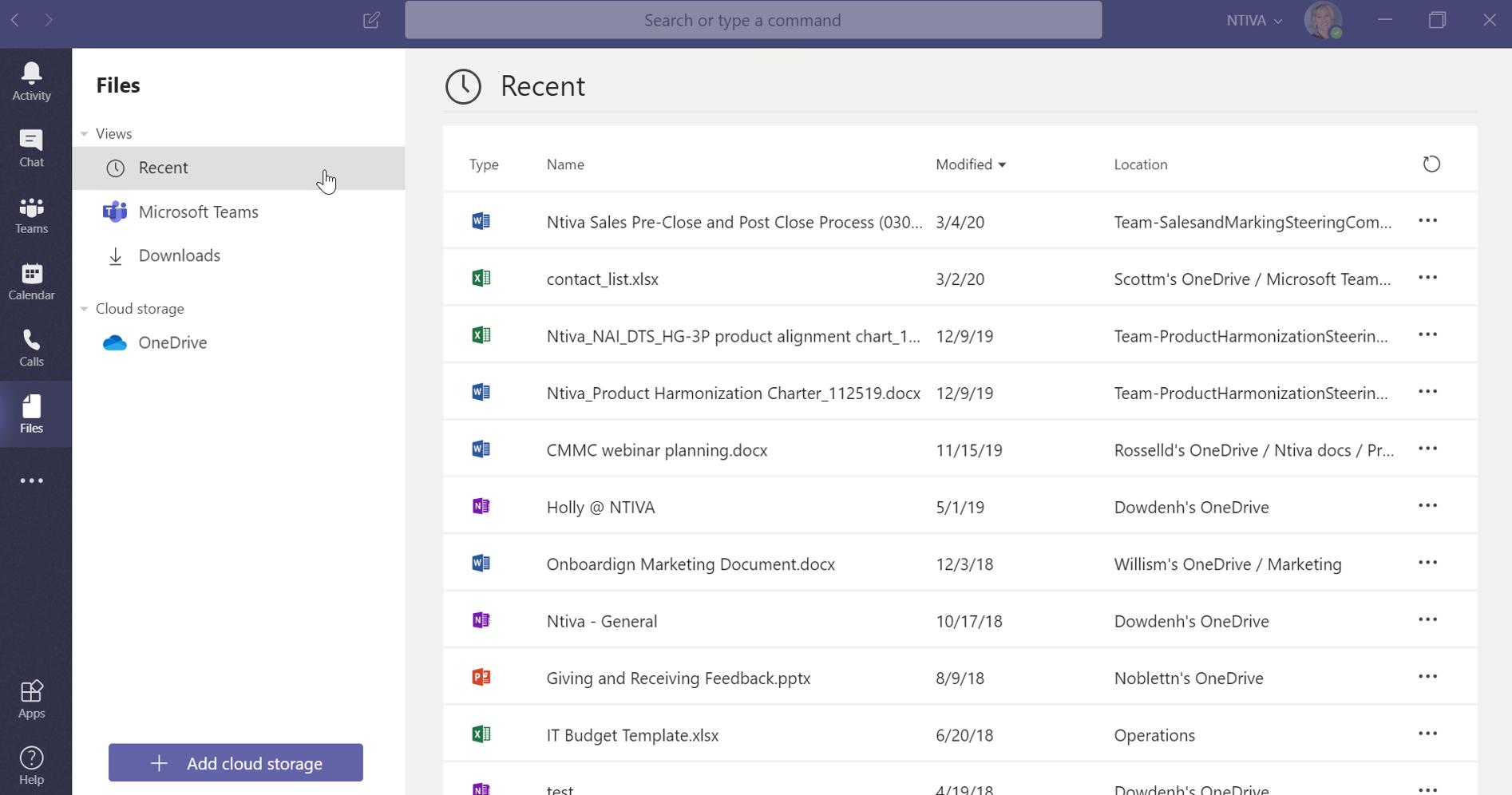 files stored in Teams